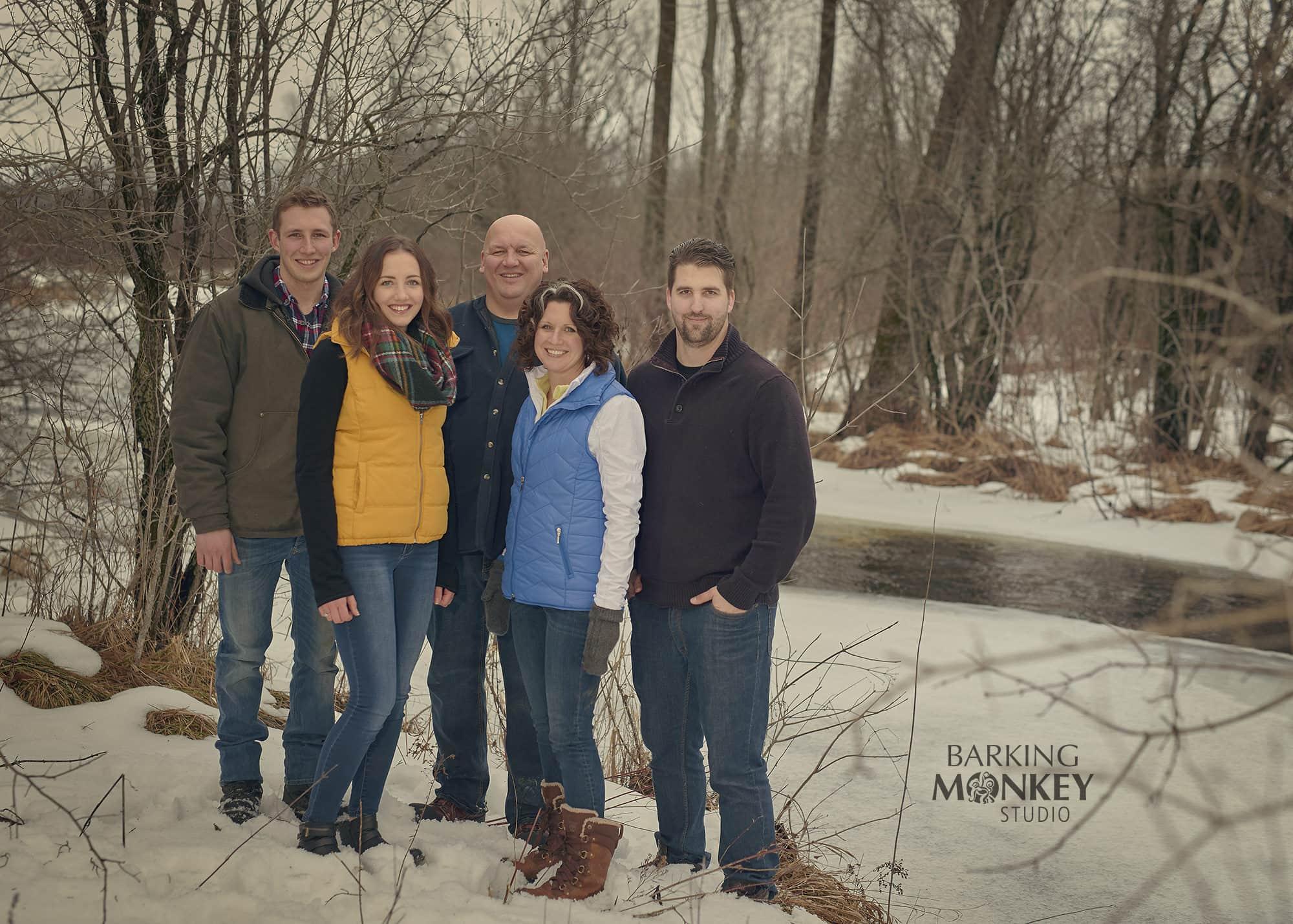 winter family portrait creek river